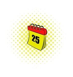 Calendar 25 number comics icon vector