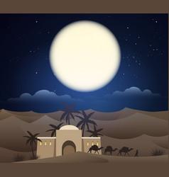 Caravan camels in sahara vector