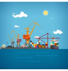 Cargo sea port vector image