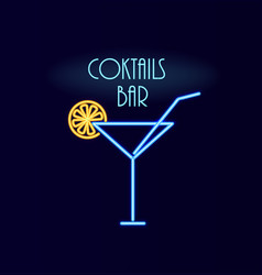 cocktails bar neon poster sign vector image