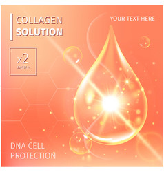 Collagen Serum and Vitamin Background Concept Skin vector