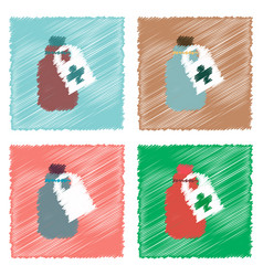 Collection of flat shading style icons medicines vector