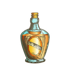 Color blown scotch bottle with style cork cap vector