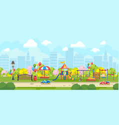 Colorful panorama of park playground vector