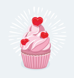 Cupcake decorated with a heart shaped cake pick vector