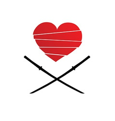 cut heart with japan swords vector image
