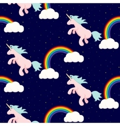 Cute unicorn child seamless pattern vector image