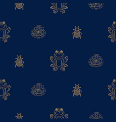 dark blue and gold outline frog on pond seamless vector image