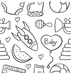 doodle of baby element on white backgrounds vector image