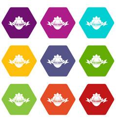 eco fresh food icons set 9 vector image