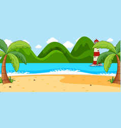empty beach landscape scene with many palm trees vector image