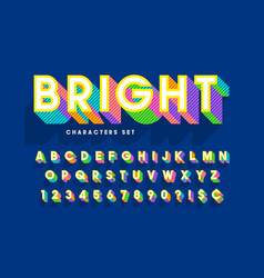 Extra bright 3d display font design alphabet vector
