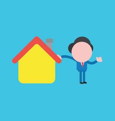 Faceless businessman with house on blue background vector