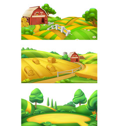 Farm and nature landscape panorama set 3d vector