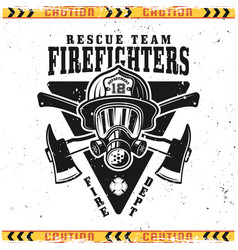 Firefighters emblem with head in helmet vector