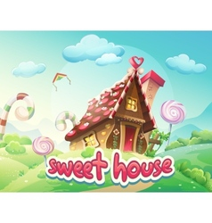 Gingerbread House with the words vector image