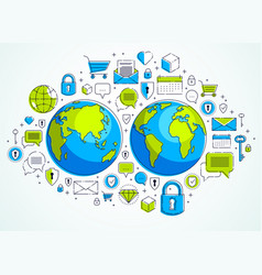 global internet connection concept planet earth vector image
