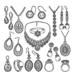 golden and silver jewelry different diamonds vector image