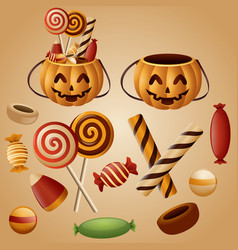 Halloween pumpkins basket with candy vector