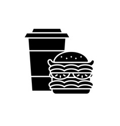 hamburger and coffee black icon sign on vector image