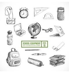 Hand drawn set school items back to vector
