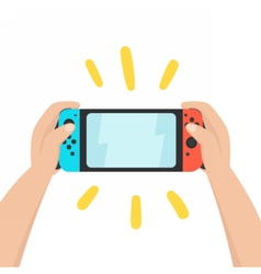 Hands holding portable console vector