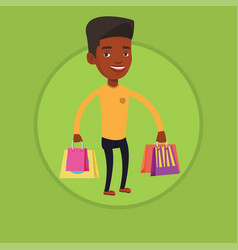 happy man with shopping bags vector image
