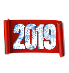 Happy new year card white number 2019 blue vector