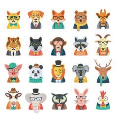 hipster animal avatar set vector image