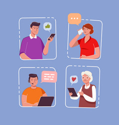 internet communication network people messaging vector image