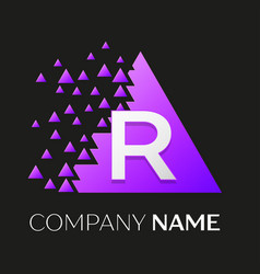 Letter r logo symbol on colorful triangle vector