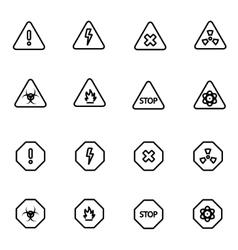 line danger icon set vector image
