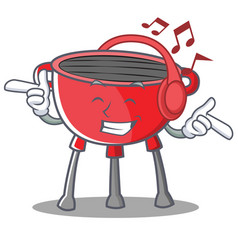 Listening music barbecue grill cartoon character vector
