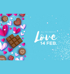 Love chocolate valentines day greeting card pink vector