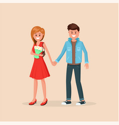 lovely couple standing vector image