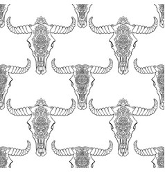 mandala style dead cow heads seamless pattern vector image