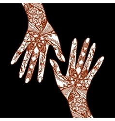 Mehendi Hands On Black Background vector image