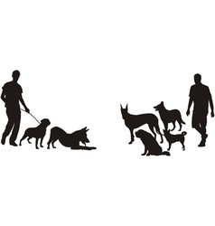 Men and dogs vector