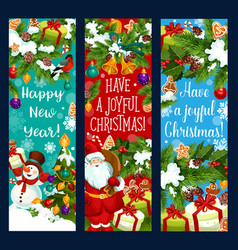 merry christmas new year greeting banners vector image