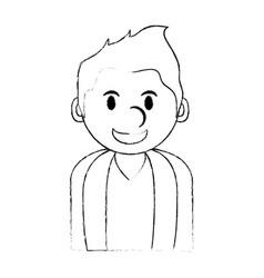 Monochrome blurred silhouette with cartoon half vector