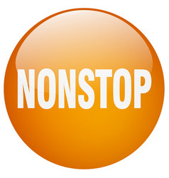 Nonstop orange round gel isolated push button vector