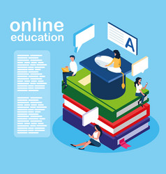 Online education mini people with ebooks and vector
