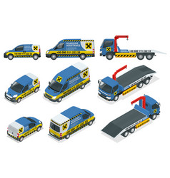 Online roadside assistance set tow truck for vector