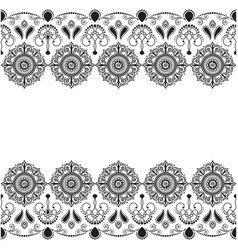 ornamental seamless border in indian mehndi style vector image