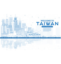 Outline welcome to taiwan city skyline with blue vector