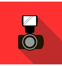 Photo camera and flash icon flat style vector
