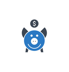 piggy bank related glyph icon vector image