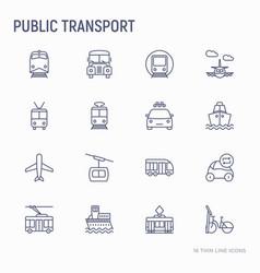 public transport thin line icons set vector image