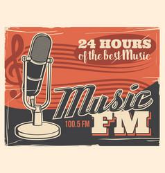radio broadcast poster retro microphone music vector image