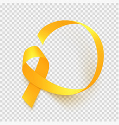 realistic gold ribbon world childhood cancer vector image